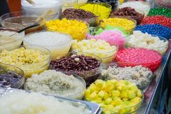 Thai desserts of toppings. Stock Photo