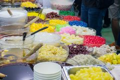 Thai desserts of toppings. Stock Photos