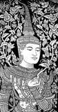 Thai deva painting. In white and black colour Stock Photos