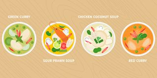 Thai dish, green curry, hot and sour prawn soup, chicken in coconut milk soup, red curry Royalty Free Stock Photography