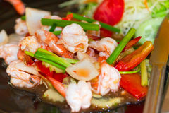 Thai dish with king prawns and lemon grass Stock Photos