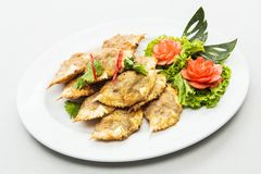 Thai dish made of blue crab whose meat is cooked in its own shel Stock Images