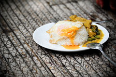 Thai dish. Of spicy yellow curry and egg on rice (Thailand Royalty Free Stock Photos