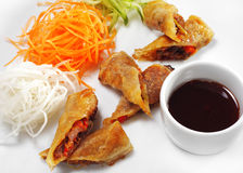 Thai Dishes - Rolls with Beef and Oyster Sauce Stock Photo