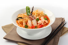 Thai Dishes, Tom Yam seafood soup with noodles Stock Image