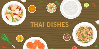 THAI dishes on wooden background Stock Images
