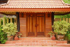 Thai door design and garden Stock Image