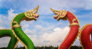 Thai dragon or king of Na-ga statue Stock Image