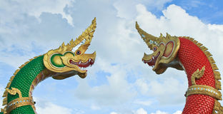 Thai dragon or king of Naga Stock Photos
