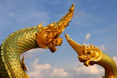 Thai dragon or king of Naga statue. In thommasart university, Thailand Royalty Free Stock Photo