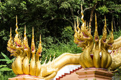 Thai dragon or king of Naga statue with seven heads Royalty Free Stock Photo