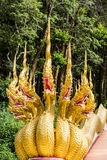 Thai dragon or king of Naga statue with seven heads Royalty Free Stock Photos