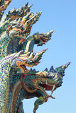 Thai dragon, King of Naga statue in Temple Thailand. Royalty Free Stock Photos