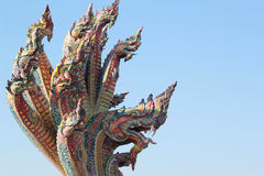 Thai dragon, King of Naga statue in Temple Thailand. Stock Photo
