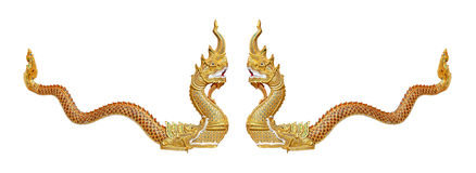 Thai dragon or king of Naga statue on white background Royalty Free Stock Photos