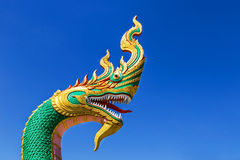 Thai dragon or serpent king or king of naga statue in thai temple Stock Image
