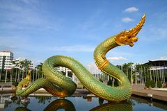 Thai dragon statue. Thai dragon or king of Naga statue in thommasart university, Thailand Royalty Free Stock Image