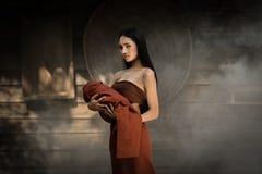 Thai dress Thai drama. Thai dress of Retro Beautiful Thai lady in Thai traditional drama dress Stock Photos