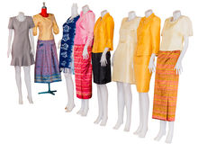 Thai   dresses on mannequins isolate white background with clipp Stock Images