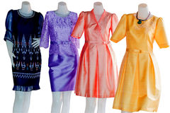 Thai   dresses on mannequins isolate white background with clipp Royalty Free Stock Photo