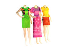 Thai   dresses on mannequins isolate white background with clipp Royalty Free Stock Image