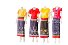 Thai   dresses on mannequins isolate white background with clipp Royalty Free Stock Photos