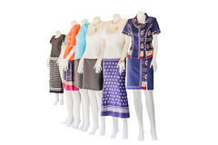 Thai   dresses on mannequins isolate white background with clipp Royalty Free Stock Photography