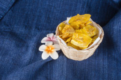 Thai Dried banana snack Stock Photo