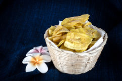Thai Dried banana snack Stock Photos