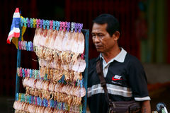 Thai Dried Squid Vendor Royalty Free Stock Photos