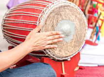 Thai Drum and drummer hand playing music, Traditional  drum made Royalty Free Stock Image