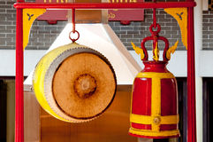 Thai Drum and Red Bell. In Thai Temple Royalty Free Stock Photo