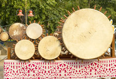 Thai drums musical instrument antique Only in the North of Thailand, called Klong Puja or Puja Drum lanna set. Royalty Free Stock Images