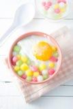 Thai dumplings in coconut cream. And egg. popular and famous thailand dessert (Bua Loi stock image