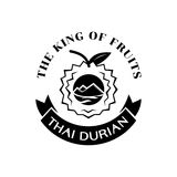 Thai durian king fruit logo. Design premium grade guarantee logo with mountain and river landscape in black color Royalty Free Stock Image