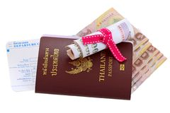 Thai e-passport with money and departure card Stock Images