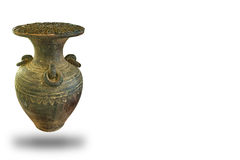 Thai Earthenware, ancient jar isolated on isolated white Stock Photography