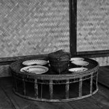 Thai eating culture classic style. Monochrome. Royalty Free Stock Images