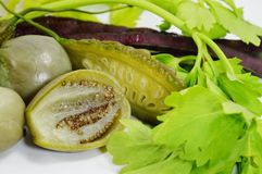 Thai eggplant and bitter  cucumber and celery with purple cow-pea Royalty Free Stock Image