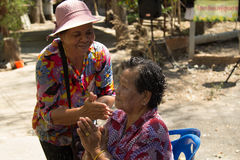 Thai elderly people celebrate Songkran festival or Thai New Year. TAPHAN HIN, PHICHIT, THAILAND - APRIL 12, 2017 : Thai elderly people celebrate Songkran Stock Photos