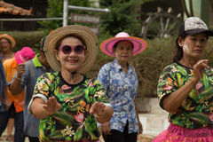 Thai elderly people celebrate Songkran festival or Thai New Year. TAPHAN HIN, PHICHIT, THAILAND - APRIL 18, 2017 : Thai elderly people celebrate Songkran Royalty Free Stock Images