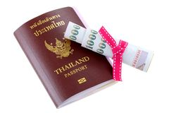 Thai electronic passport with some pocket money Stock Images