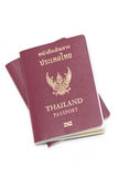 Thai Electronic Passports. Two Thai Electronic Passports (Issued By a Government In Thailand), Isolated On White royalty free stock photography