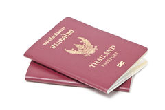 Thai Electronic Passports. Two Thai Electronic Passports (Issued By a Government In Thailand), Isolated On White stock photos