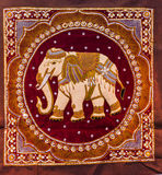 Thai elephant tapestries by hand Stock Image