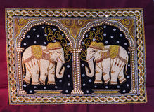 Thai elephant tapestries by hand Royalty Free Stock Image