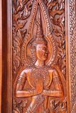 Thai Engraving wood in window Stock Image