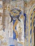 THAI ESARN famous unique myth story mural fresco painting Stock Photo