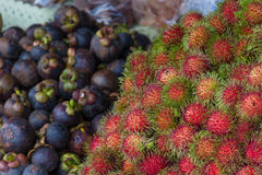 Thai exotic fruits (Rambutan and Mangosteen) in market Stock Images
