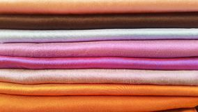 Thai fabric line. Thai handmade fabric colorful Stock Image